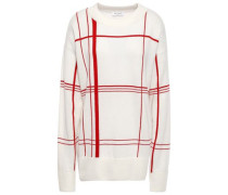Checked Knitted Sweater Ecru