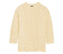 Distressed Cable-knit Wool Sweater Cream
