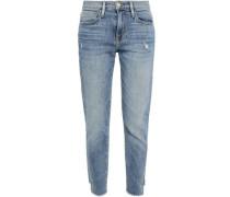 Cropped Distressed Boyfriend Jeans Light Denim  9