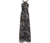 Embellished printed chiffon gown