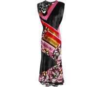 Printed Velvet Midi Dress Black