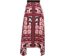Asymmetric Silk-twill Midi Skirt Claret