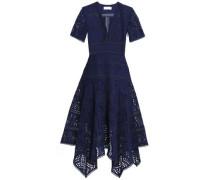 Paradiso Asymmetric Broderie Anglaise Cotton Midi Dress Navy Size 0