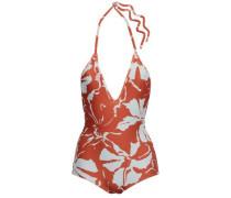 Woman Open-back Floral-print Halterneck Swimsuit Brick