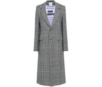 Appliquéd Embroidered Prince Of Wales Checked Jacquard Coat Gray