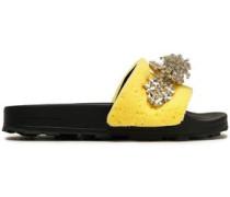 Embellished Rubber Slides Pastel Yellow