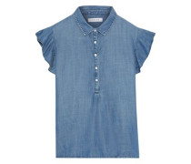 Ruffled Tencel-chambray Top Midnight Blue