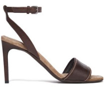 Bead-embellished Textured-leather Sandals Chocolate