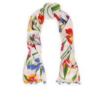 Floral-print Cotton And Silk-blend Mousseline Scarf White Size --
