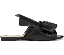 Woman Knotted Leather Slides Black