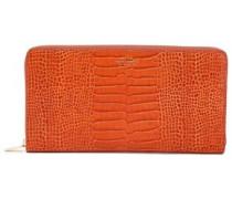 Croc-effect Leather Wallet Orange Size --