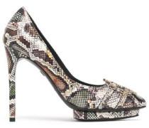 Embellished snake-effect leather platform pumps