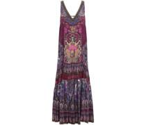 Daughter Destiny Embellished Printed Silk Crepe De Chine Maxi Dress Violet