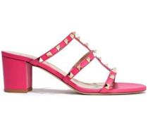 Rockstud Leather Sandals Fuchsia
