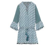 Ria Lace-up Cotton And Silk-blend Mini Dress Blue