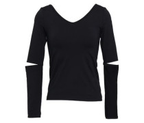 Cutout Stretch-jersey Top Black