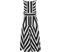 Lace-up embellished striped cotton and silk-blend midi dress