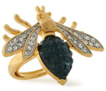 Gold-tone, crystal and stone ring