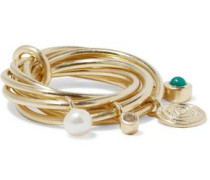 Gold-tone, crystal, faux pearl and stone ring