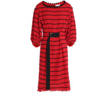 Belted striped cotton-blend tweed dress