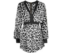 Woman Leopard-print Silk-satin Mini Dress White