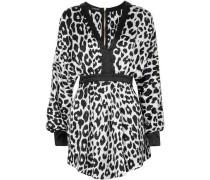 Leopard-print Silk-satin Mini Dress White