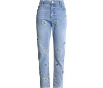 Appliquéd distressed high-rise staight-leg jeans