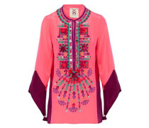 Color-block embellished silk tunic