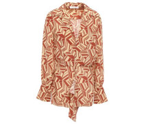 Wrap-effect Printed Silk-crepe Shirt Cream