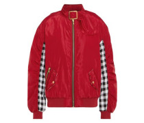 Shell and checked cotton bomber jacket