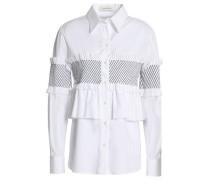 Ruffle-trimmed shirred cotton-blend poplin shirt