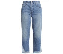 Wynne distressed high-rise straight-leg jeans
