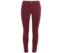 Woman Climb Cropped Mid-rise Skinny Jeans Burgundy