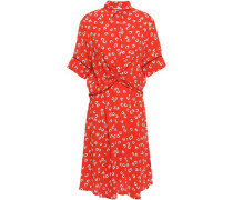 Silvery Twist-front Floral-print Crepe Dress Tomato Red