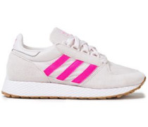Woman Nubuck-trimmed Striped Mesh Sneakers Off-white