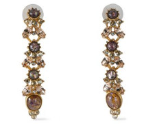 Gold-tone, stone and crystal earrings