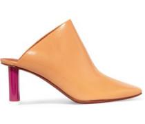 Glossed-leather Mules Pastel Orange