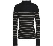 Striped Ribbed-knit Cashmere Turtleneck Sweater Black