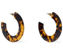 Woman Gold-plated Tortoiseshell Resin Hoop Earrings Animal Print