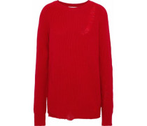Oversized distressed wool and cashmere-blend sweater