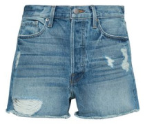 Frayed Denim Shorts Light Denim  8