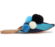Iris Pompom-embellished Embroidered Cotton Slippers Turquoise