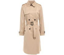 Belted Cotton-blend Gabardine Trench Coat Neutral