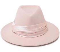 Blaine Satin-trimmed Wool-felt Fedora Pastel Pink Size ONESIZE