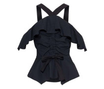 Cold-shoulder Bow-detailed Ruched Cotton-poplin Top Black