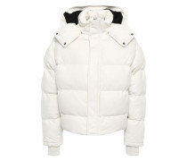 Collyn Quilted Leather Hooded Coat White