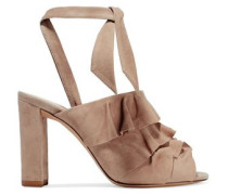 Barbara ruffled suede sandals