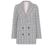 Woman Ash Double-breasted Checked Woven Blazer Gray