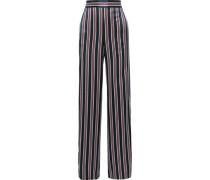 Miles Striped Silk-satin Wide-leg Pants Navy