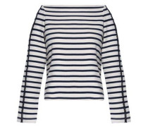 Crochet-trimmed striped cotton-jersey top
